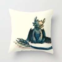 toothless Throw Pillows featuring Toothless by Alice X. Zhang