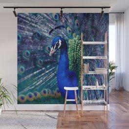 Blue Peacock Wall Mural