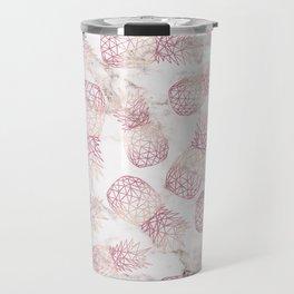 Geometric rose gold pineapples marble pattern Travel Mug