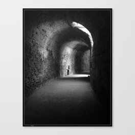 Lit Tunnel in Black and White Canvas Print