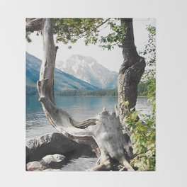 Tetons at Jackson Lake Wyoming Throw Blanket