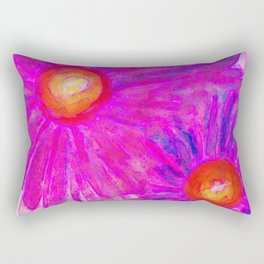 Bright Pink Sketch Flowers Rectangular Pillow