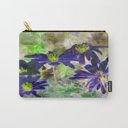 Blue Daisy Illusion 2 - Inverted Art Series Carry-All Pouch