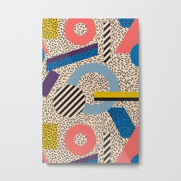 Memphis Inspired Pattern 3 Metal Print