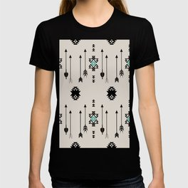Tribal Native Arrows And Turquoise Symbols Minimal Design  T-shirt