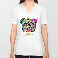 bulldog V-neck T-shirts featuring Bulldog by morganPASLIER