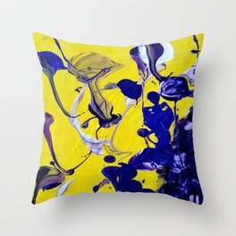 Ultra Violet Blue Yellow Abstract Paint Throw Pillow