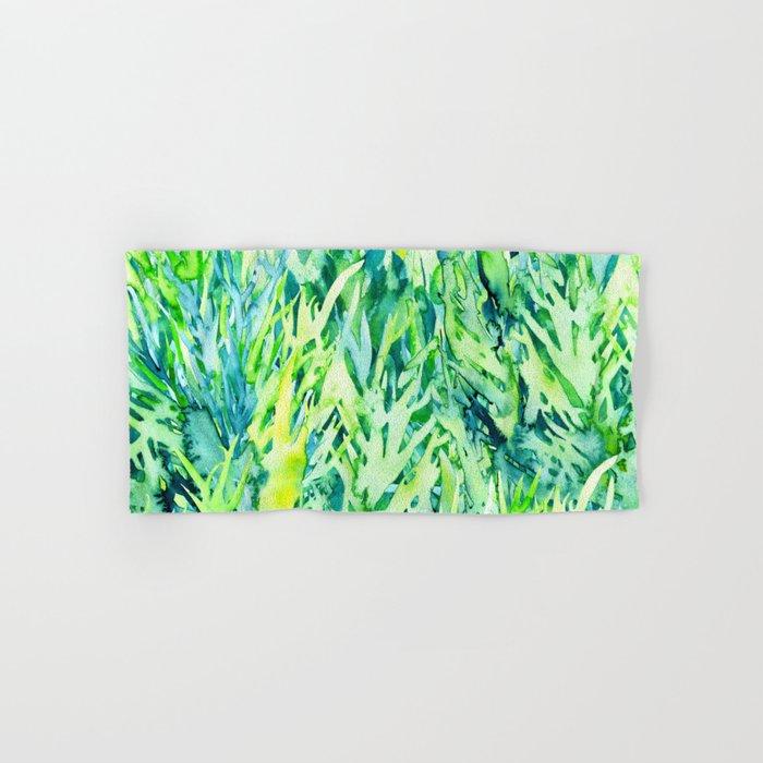 Jungle Green Watercolor Hand Bath Towel By Saryart Society6
