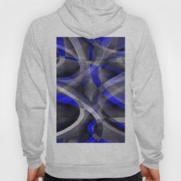 Eighties Groovy Royal Blue and Grey Arched Line Pattern Hoody
