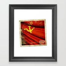 Sticker of Soviet Union (1922-1991) flag Framed Art Print