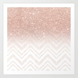 Modern faux rose gold glitter ombre modern chevron stitches pattern Art Print