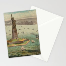 Vintage Statue of Liberty & NYC Illustration (1884) Stationery Cards
