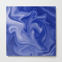 Marble Blues White Metal Print