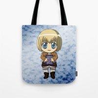 shingeki no kyojin Tote Bags featuring Shingeki no Kyojin - Chibi Armin by Tenki Incorporated