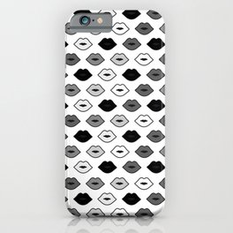 Chessboard Lips - Black and White iPhone Case