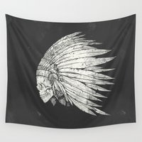 indian Wall Tapestries featuring Indian Skull by Mike Koubou
