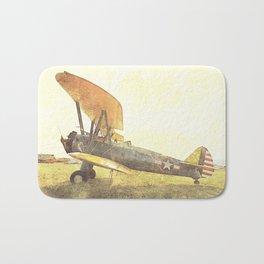 Freedom Biplane // Antique Airplanes Bath Mat