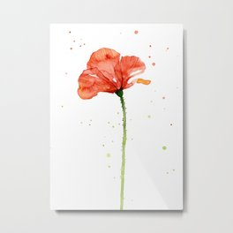 Abstract Red Poppy Flower Metal Print