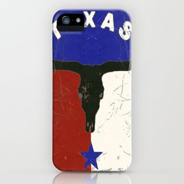 Texas State Flag Longhorn Antique Style Pattern Art iPhone Case
