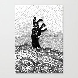 Zombie Hand: The Rain Woke Me Up Canvas Print