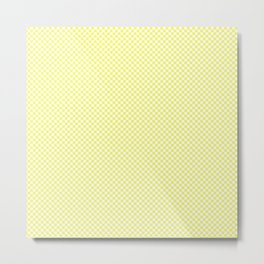Pastel Limelight Yellow and White Mini Check 2018 Color Trends Metal Print
