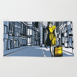 Girl walking on a London street Beach Towel