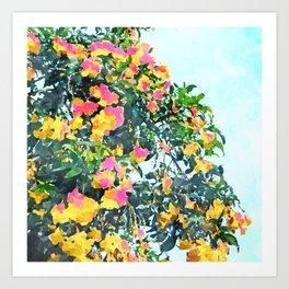 Summer Bougainvillea Watercolor Painting Art Print