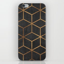 Charcoal and Gold - Geometric Textured Cube Design I iPhone Skin