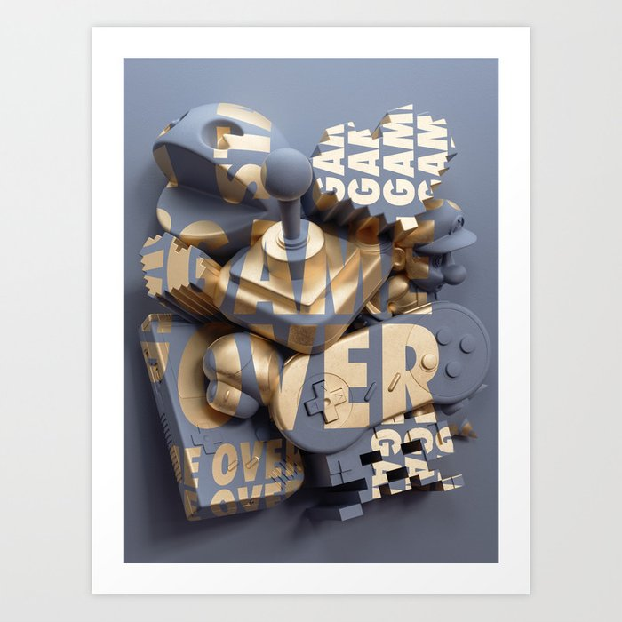 Game Over / Anamorphic Art / Ben Fearnley Art Print by benfearnley