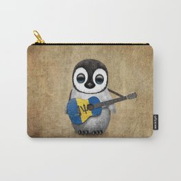 Baby Penguin Playing Barbados Flag Acoustic Guitar Carry-All Pouch
