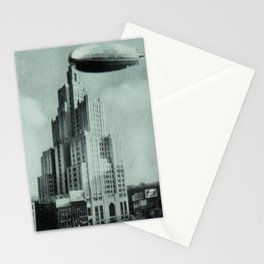 1928 Dirigible Patoka docking at the observation deck atop the Superman building in Providence RI Stationery Cards