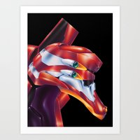 evangelion Art Prints featuring Evangelion EVA-02 by Etienne Chaize