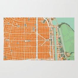 Buenos Aires city map orange Rug