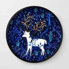 Deericorn In Blue Wall Clock