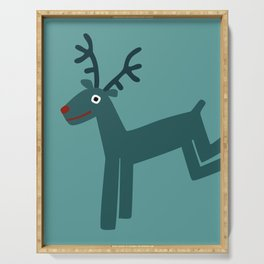 Reindeer-Teal Serving Tray