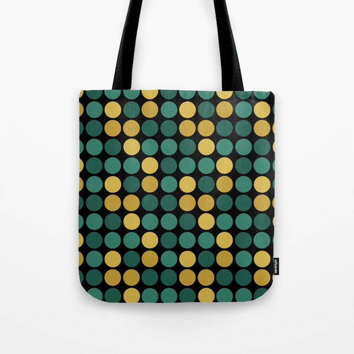 Yellow green polka dots on a black background . Tote Bag