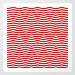 Australian Flag Red and White Wavy Chevron Stripe Art Print