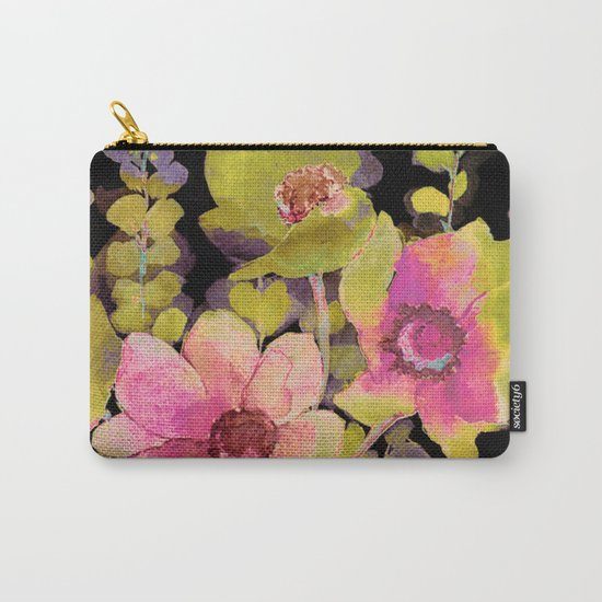 pink flowers and foliage on black Carry-All Pouch