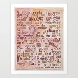 Cormac McCarthy on The Southwest, from The Geography Series Art Print