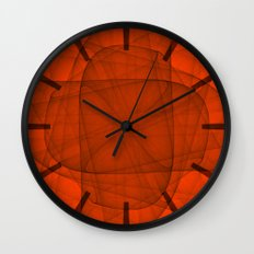 Fractal Eternal Rounded Cross in Red Wall Clock