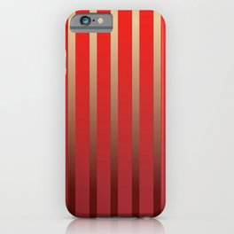 Geometric abstract gold red gradient stripes iPhone Case