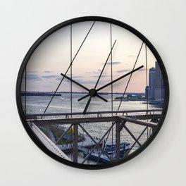 Statue of Liberty from Brooklyn bridge. Wall Clock