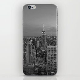 Manhattan sunset. Black and white photo iPhone Skin