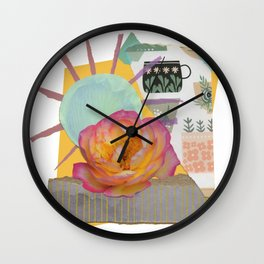 Pink KnockOut Rose Collage Wall Clock