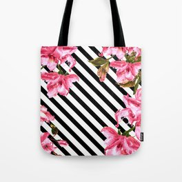 Watercolor Flowers and Lines Pattern Tote Bag