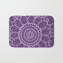 Lavender Dreams Flower Medallion - Medium with Light Outline Bath Mat