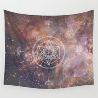 sacred geometry Wall Tapestries featuring Sacred Geometry Universe 2 by Gaudy