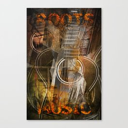 Roots Music with Cubist Guitar Canvas Print