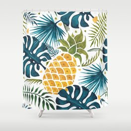 Golden pineapple on palm leaves foliage Shower Curtain