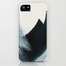 Like A Gentle Hurricane: a minimal, abstract piece in blues and white by Alyssa Hamilton Art iPhone Case